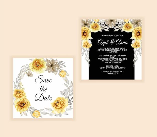 Cartão de convite de casamento com lindo ouro rosa amarelo