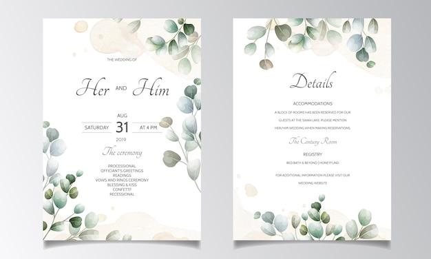Cartão de convite de casamento com modelo de folhas de eucalipto