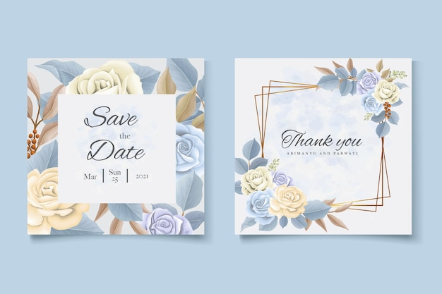 Cartão de convite de casamento com modelo de lindas rosas