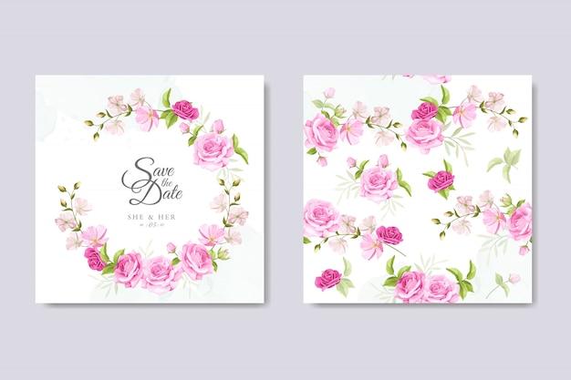 Cartão de convite de casamento com modelo de rosas amarelas e rosa