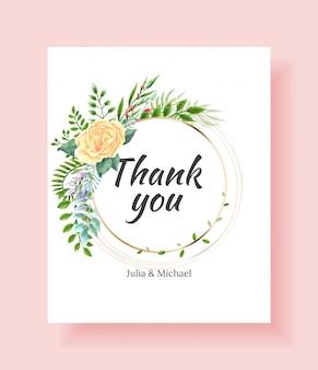 Cartão de convite de casamento com moldura de flores