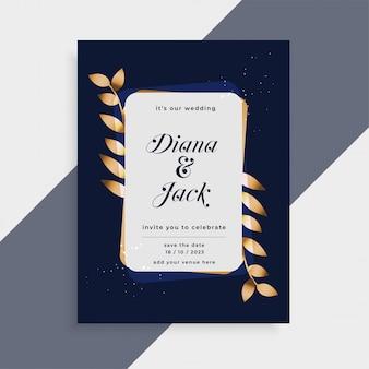 Cartão de convite de casamento com moldura de folhas douradas
