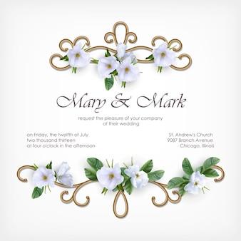 Cartão de convite de casamento com moldura dourada decorativa e flores brancas