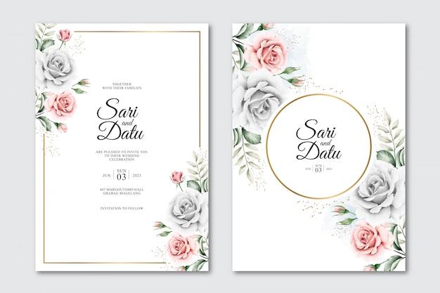 Cartão de convite de casamento com moldura dourada e bela aquarela floral