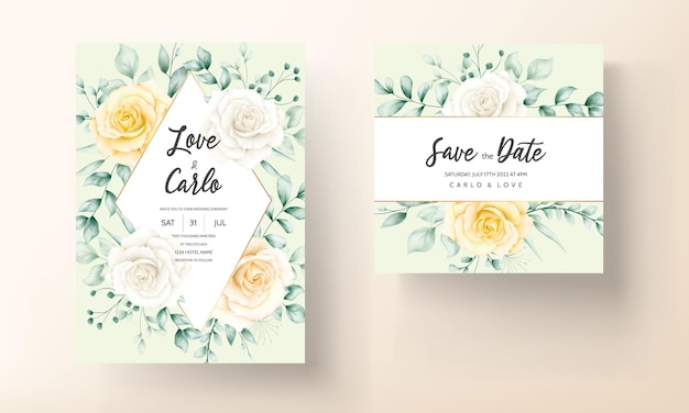 Cartão de convite de casamento com moldura floral em aquarela linda com natureza suave