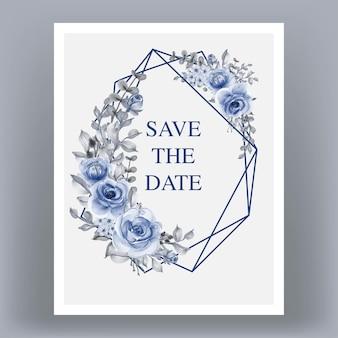 Cartão de convite de casamento com moldura geométrica e flores azuis