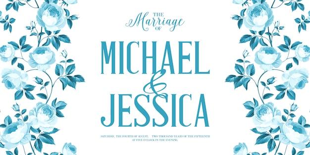Cartão de convite de casamento com moldura personalizada de sinal e flor sobre fundo branco.