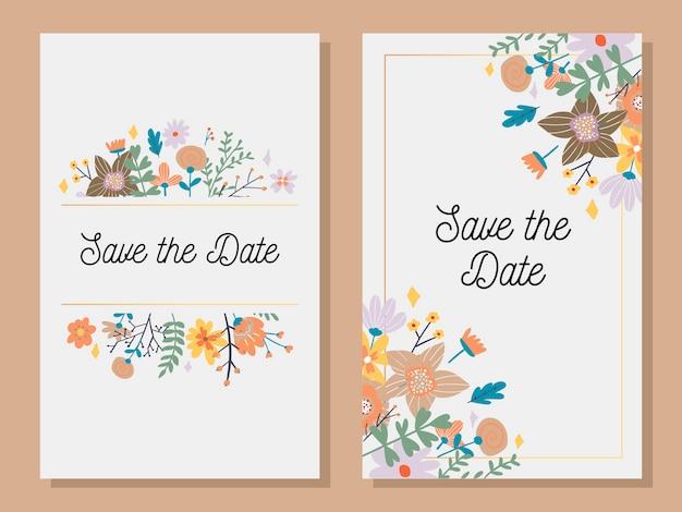 Cartão de convite de casamento com moldura personalizada de sinal e flor sobre madeira. ilustração.