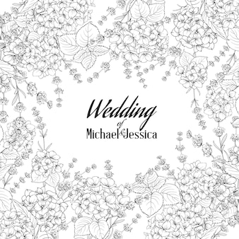 Cartão de convite de casamento com moldura personalizada, sinal e flor.