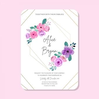 Cartão de convite de casamento com moldura vintage