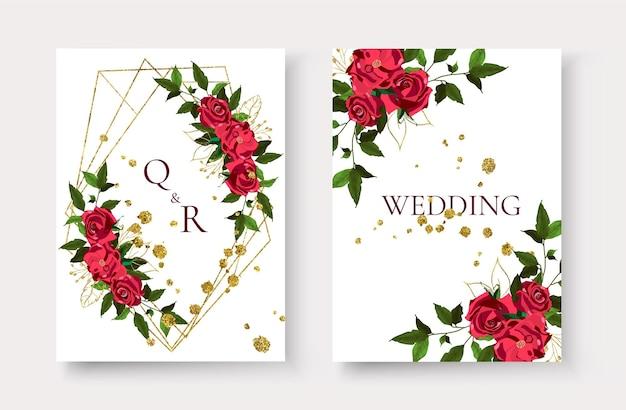 Cartão de convite de casamento com molduras geométricas douradas florais