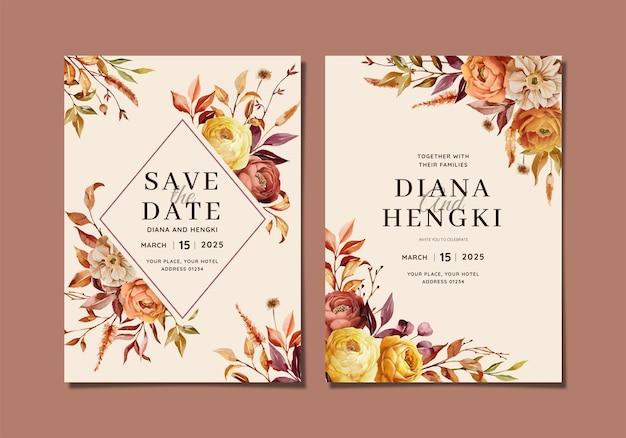 Cartão de convite de casamento com natureza outono