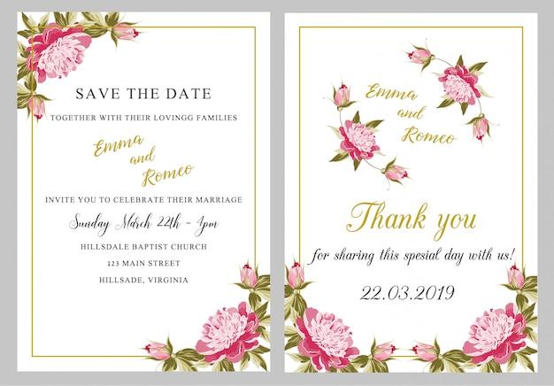 Cartão de convite de casamento com obrigado