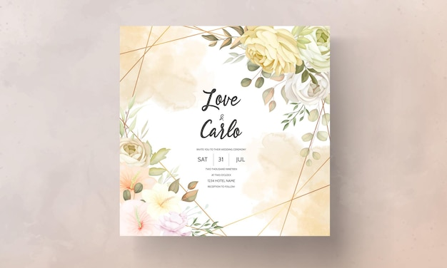 Cartão de convite de casamento com outono quente e suave floral
