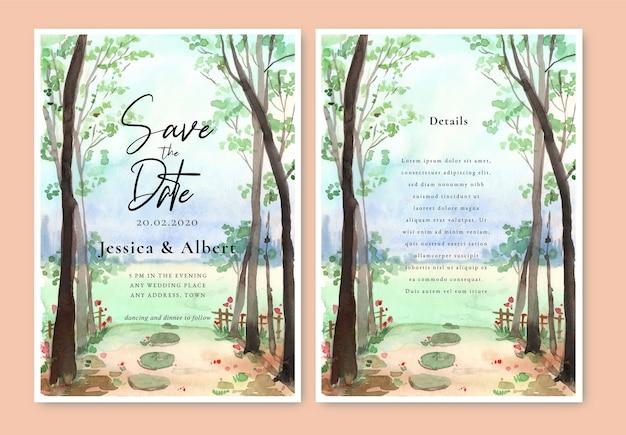 Cartão de convite de casamento com paisagem, pintura em aquarela, grama e floresta