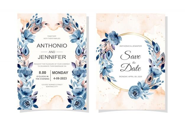 Cartão de convite de casamento com penas e floral com aquarela