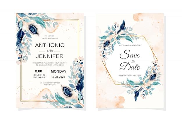Cartão de convite de casamento com penas e folhas azuis em aquarela