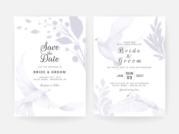 Cartão de convite de casamento com pomba branca pintada à mão e aquarela floral