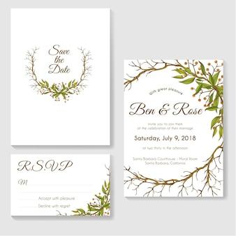 Cartão de convite de casamento com quadro de círculo de folhas e galhos