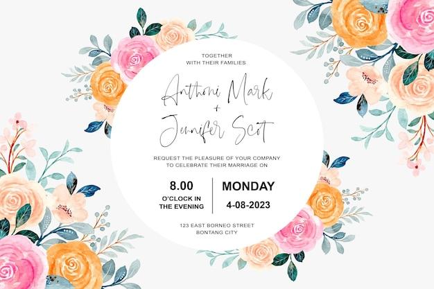 Cartão de convite de casamento com rosas cor de rosa e laranja com aquarela