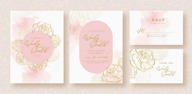 Cartão de convite de casamento com rosas douradas