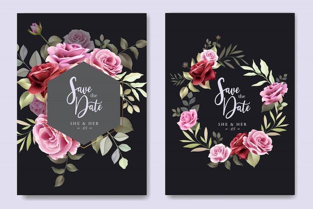 Cartão de convite de casamento com rosas elegantes
