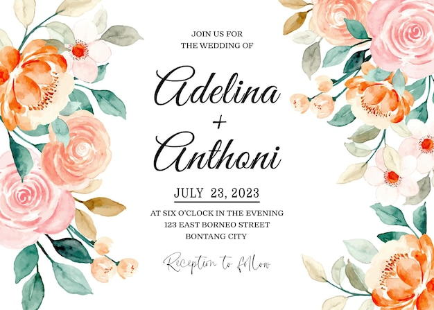 Cartão de convite de casamento com rosas em aquarela
