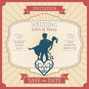 Cartão de convite de casamento com silhuetas de noivos recém casado