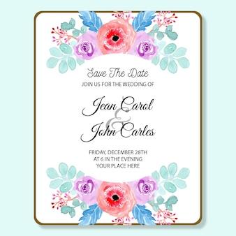 Cartão de convite de casamento com suave aquarela floral azul e rosa
