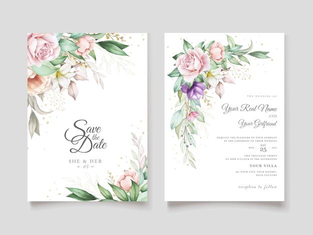 Cartão de convite de casamento com suave verde aquarela floral