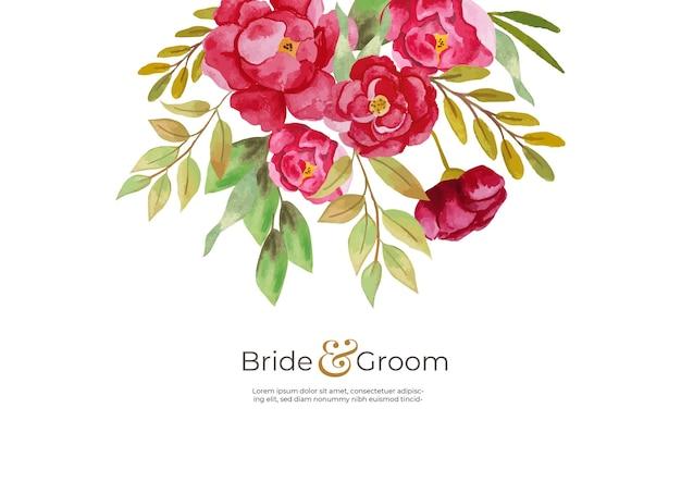 Cartão de convite de casamento com tema loral Vetor Premium