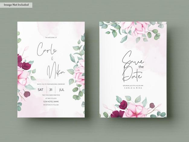 Cartão de convite de casamento com um lindo desabrochar floral