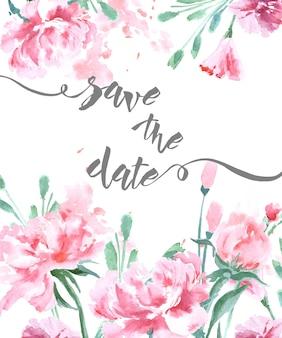 Cartão de convite de casamento com uma aquarela peônias e borboletas.
