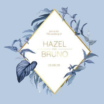 Cartão de convite de casamento com vetor de design de folhas azuis