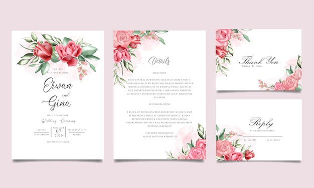 Cartão de convite de casamento conjunto com aquarela floral e modelo de folhas