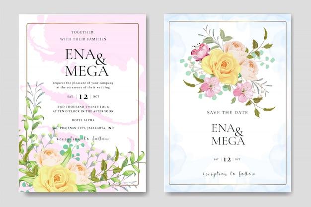 Cartão de convite de casamento conjunto com lindas rosas modelo