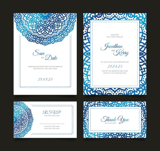 Cartão de convite de casamento conjunto com modelo abstrato floral
