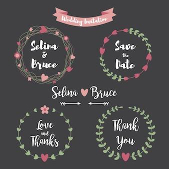 Cartão de convite de casamento. conjunto de moldura floral para cartão de agradecimento, convites de casamento, cartões de aniversário, letras caligráficas, emblema e rótulo. elementos de design do casamento do estilo quadro-negro.