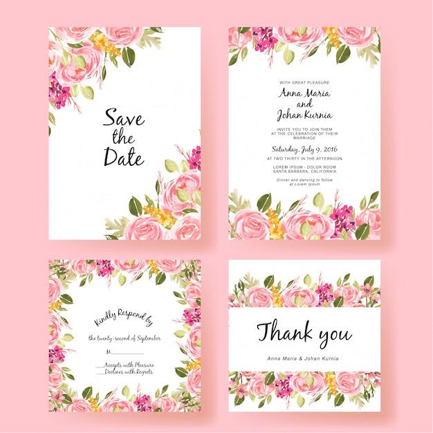 Cartão de convite de casamento conjunto flor de pêssego