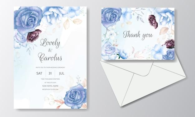 Cartão de convite de casamento conjunto modelo com bela aquarela floral e folhas