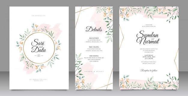 Cartão de convite de casamento conjunto modelo com decoração em aquarela de folhas