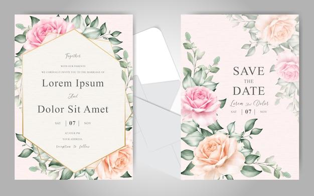 Cartão de convite de casamento conjunto modelo com elegante mão desenhada floral e aquarela