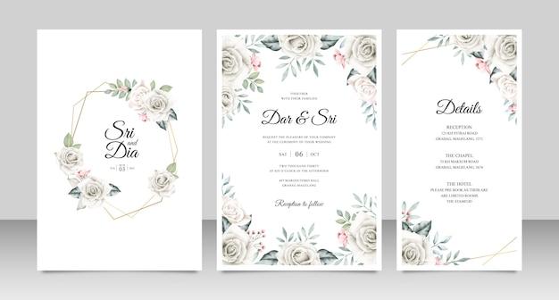 Cartão de convite de casamento conjunto modelo com flores e folhas aquarel