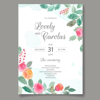 Cartão de convite de casamento conjunto modelo com flores em aquarela e folhas