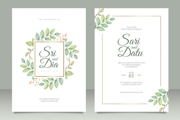 Cartão de convite de casamento conjunto modelo com folhas bonitas aquarel