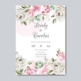 Cartão de convite de casamento conjunto modelo com linda flor rosa e folhas