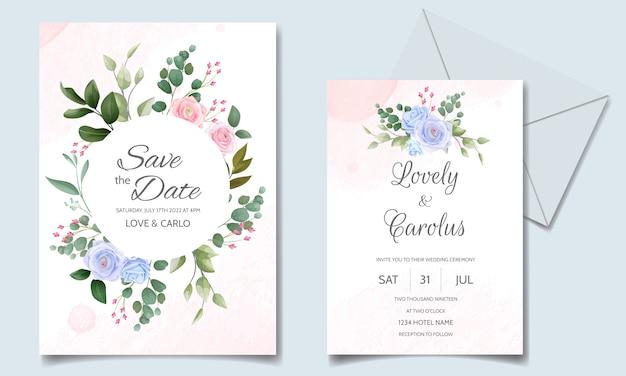 Cartão de convite de casamento conjunto modelo com linda moldura floral