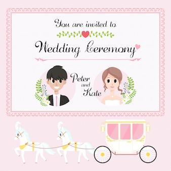 Cartão de convite de casamento de carruagem de cavalo