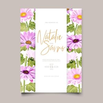 Cartão de convite de casamento de crisântemo aquarela
