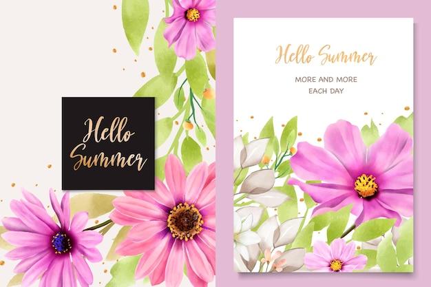 Cartão de convite de casamento de crisântemo watercolor